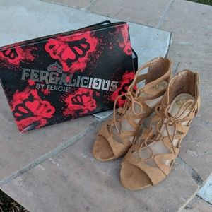 Brown suede strappy heels (size 7.5)